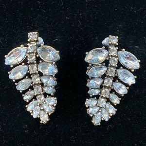 Jewelry - Antiqued Finish Clear Rhinestone Leaf Earrings